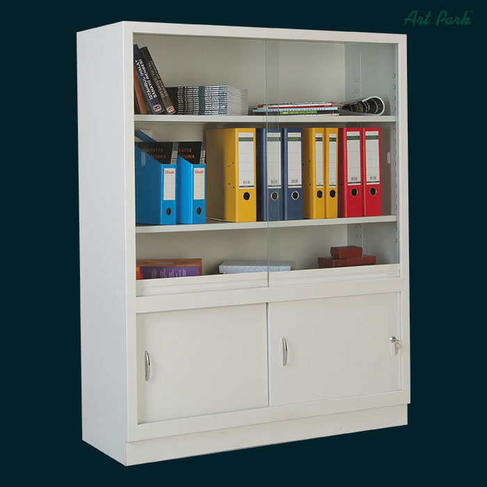 Метален шкаф библиотека с рафтове и плъзгащи врати