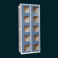 Метални шкафчета за багай със стъклени прозрачни вратички