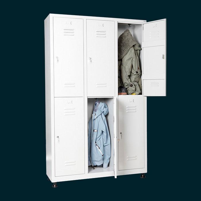 Метален шкаф за дрехи с 6 отделения за 6 души