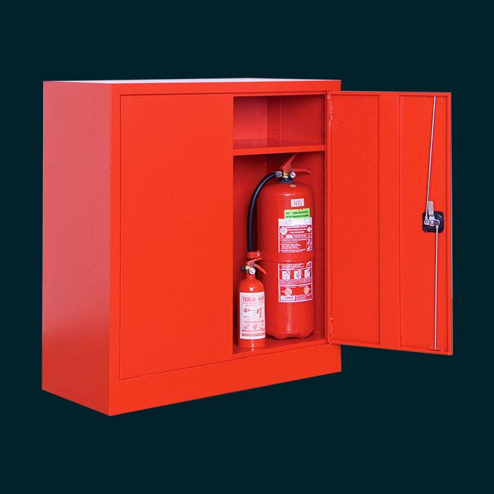 Метален шкаф за пожарогасител