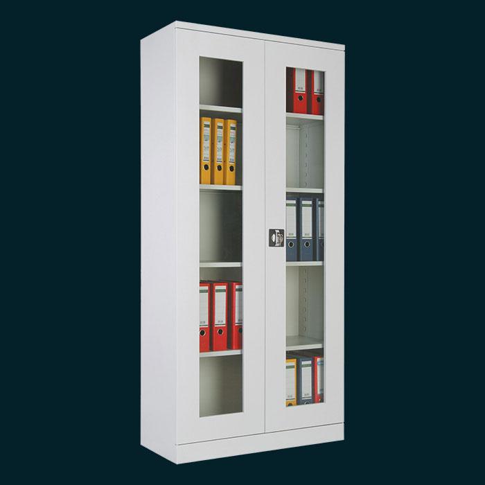 Метален шкаф за класьори със стъклени врати